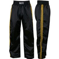 Blitz Adult Classic Satin Full Contact Trousers - Black / Yellow - 3/160cm