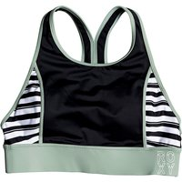Bademode - Roxy Fitness Crop Top Bikini Top true black beetle stripes  - Onlineshop Blue Tomato