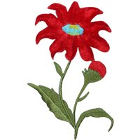 ID 6694 Red Wildflower Stem Bud Flower Plant Iron On Embroidered Patch Applique