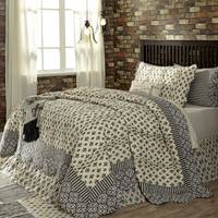 3-pc-fullqueen-elysee-quilt-shams-set-black-grey-creme-fleur-de-lis-vhc