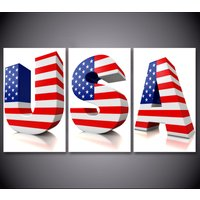 3 Pcs HD Printed USA 3D Words US Flag Wall Decor Poster Picture Canvas Painting