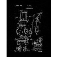 Golf Cart Patent Print - Black Matte