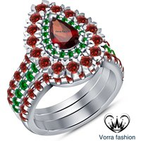 Red Garnet Round Cut 925 Silver 14K White Gold Over Women's Engagement Ring Set