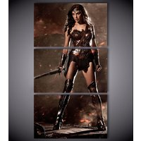 3 Pcs Wonder Woman Gal Gadot Wall Pictures Home Decor Printed Canvas Painting