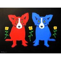 Original Art Oil Painting Print On Canvas George Rodrigue Blue Dog