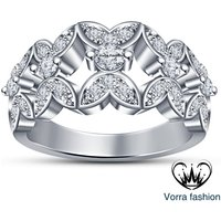 Ladies Engagement Band Ring 14K White Gold Plated 925 Silver Simulated Diamond