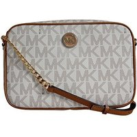 Michael Kors Fulton Large East West Signature and Leather Crossbody with Back Sl