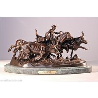 """Stampede"" Solid Bronze Statue by Frederick Remington - Regular"