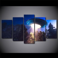5 Pcs UFO Alien Spacecraft Home Decor Wall Picture Printed Canvas Painting