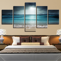 5 Pcs Sea Scenery With Beach Canvas Prints Painting Wall Art Pictures Home Décor