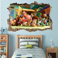 Toy Story Buzz Lightyear Woody 3D Smashed Wall Sticker Decal Art Mural J743