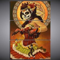 3 Pcs HD Printed Day of the Dead Face Wall Art Poster Picture Canvas Painting