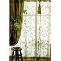 elleweideco-modern-embroidered-green-leaf-sheer-window-curtaindrapepanel-9