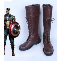 Captain America Steven Steve Rogers brown cos Cosplay Shoes Boots shoe   #NT07
