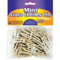 "100 Natural Wood Wooden Mini 1"" inch Spring Clothespins Clothes Pins Crafts Toys"
