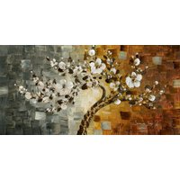 "Huge Art PRINT 36x72"" Canvas Abstract White Cherry Blossom Tree Curvy Bonsai"