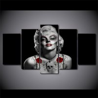 5 Pcs Marilyn Monroe Tattoo Home Decor Wall Picture Printed Canvas Painting
