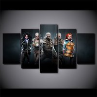 5 Pcs The Witcher Wild Hunt Game Home Decor Wall Picture Printed Canvas Painting