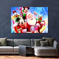 1 Pcs Mickey with Santa Claus Christmas Wall Picture Home Decor Canvas Painting