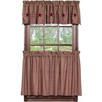olivia-heartland-country-primitive-vintage-star-burgundy-plaid-tier-curtains