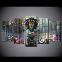 5Pcs World of Warcraft Animation Home Decor Wall Picture Printed Canvas Painting