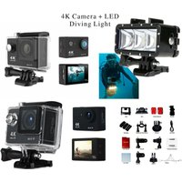 1080P ULTRA HD 4K WiFi Action Camera Waterproof Sport Video and LED Diving Light