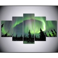 Northern lights forest painting  5 Piece Canvas Art Wall Art Picture Home Decor