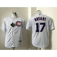 17 Kris Bryant - Kids Chicago Cubs White Champions Gold Program Jerseys