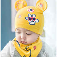 New Baby Hat Bib Set Cartoon Cotton Beanie Baby Boy Girls Hats Kids Hat
