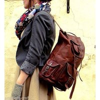 new-genuine-leather-brown-vintage-back-pack-rucksack-travel-bag-men-women