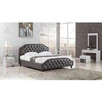 american-eagle-bd058-dark-gray-king-size-bed-leather-air-fabric-tufted-headboard