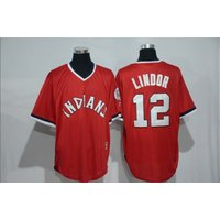 Indians 12 Francisco Lindor Red Flexbase Authentic Collection Stitched Jersey