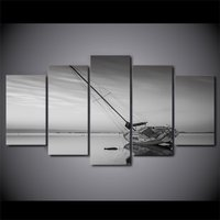 5 Pcs HD Printed Calm Lake Sailing Boat Wall Art Poster Picture Canvas Painting