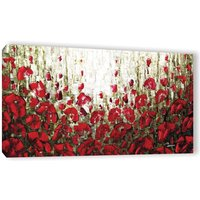 red poppies landscape expressionist fine art PRINT on stretched canvas Large