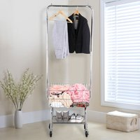 heavy-duty-garment-organizer-laundry-cart-with-storage-basket-double-pole-rack