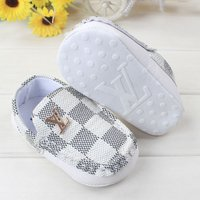 Free Shipping White Checked Model Baby Soft Bottom Toddler Shoes L161