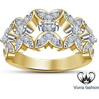 Round Sim Diamond 925 Sterling Silver 14K Yellow Gold Fn Women's Engagement Ring
