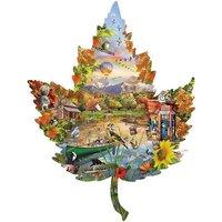 1000 Pc Leaf-Shaped Jigsaw Puzzle Seasonal Fall Autumn Shoreline Artwork