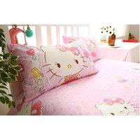 HELLO KITTY Elegant Jewel Design Pink Color COTTON 4 pcs Bedding Bed Sheet Set