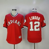 #12 Francisco Lindor Cleveland Indians Baseball Throwback Jersey M-3xl Red