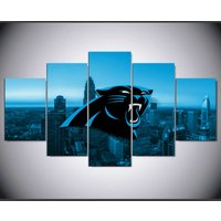 North Carolina Panthers Sports  5 Piece Canvas Art Wall Art Picture Home Decor