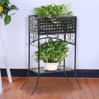 2-tier-iron-rectangular-plant-stand-flower-pot-shelf-rack-black-indoor-outdoor