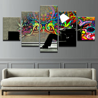 5 Piece Psychedelic Abstract Graffiti Canvas Prints Painting Wall Art Home Décor