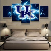 5 Panels Kentucky Wildcats Basketball Canvas Prints Painting Wall Art Home Decor