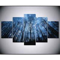 Starry night sky forest poster  5 Piece Canvas Art Wall Art Picture Home Decor