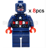 Super Hero Marvel DC Captain America Lego Minifigure Blocks sets  Toys 8PCS A