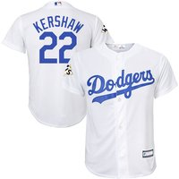 Dodgers 22 Clayton Kershaw White Youth 2017 World Series Cool Base Player Jersey
