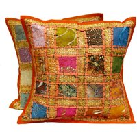 2-orange-embroidery-sequin-patchwork-indian-sari-throw-pillow-cushion-covers