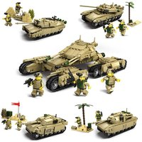 4 In 1 Mammoth Tank Russia T-90 France Leclerc USA M1A2 Abrams Fir Lego