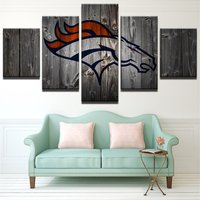 5 Pcs Denver Broncos Rugby Wall Picture Home Decor Printed Canvas Painting